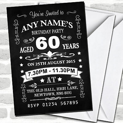 Vintage Chalkboard Style Black And White 60Th Birthday Party Invitations