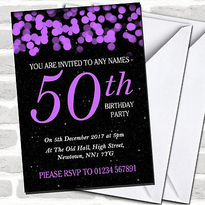 Purple Bokeh & Stars 50th Birthday Party Invitations (50th Birthday Party Invitations)