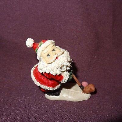 "Golfing Santa Claus Figurine Christmas Resin 2"" Holiday Sport"