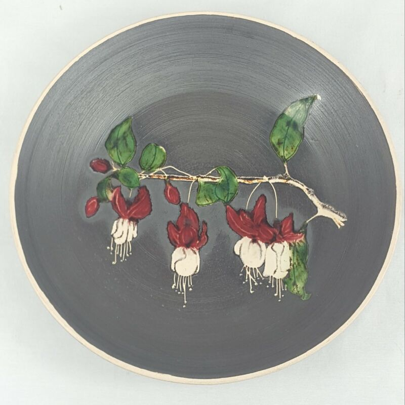 Marazion Cornwall British Studio Art Pottery Fuchsia 1965 Display Plate 8.5""