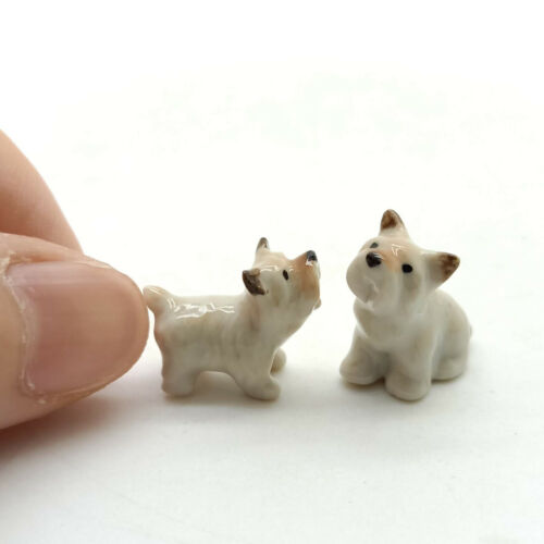 2 West Highland Terrier Dog Figurine Ceramic Animal Tiny Statue - CDG052