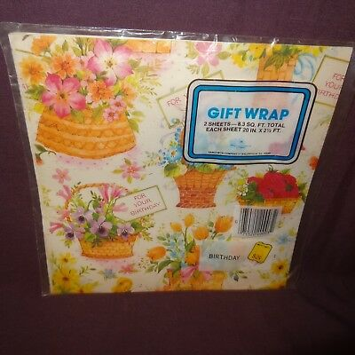Vintage Birthday Gift Wrap Wrapping Paper Sangamon 2 Sheets New Old Stock Flower Cherry Blossom Wrapping Paper