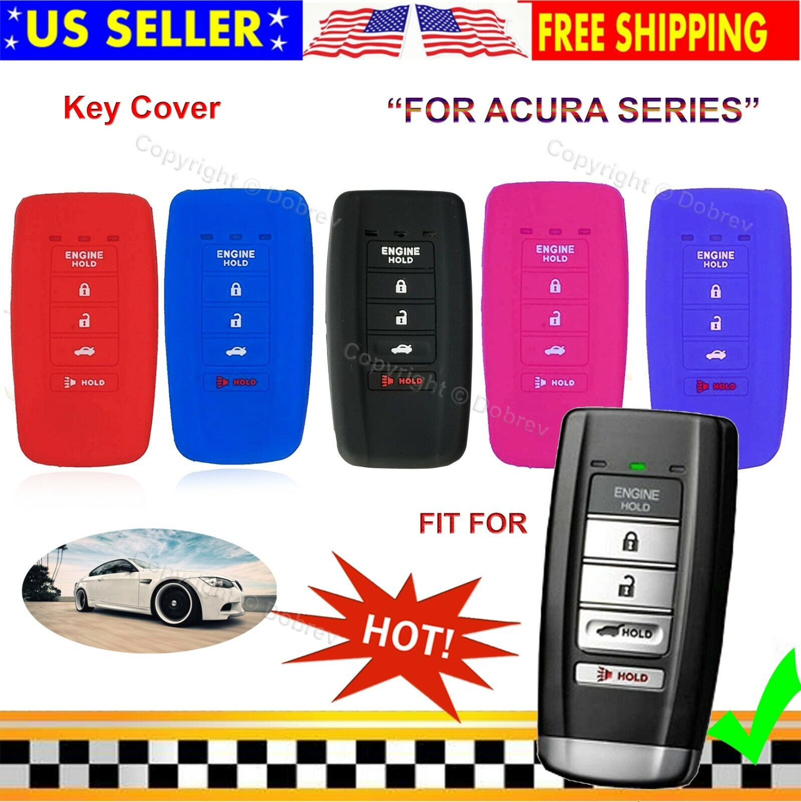 Silicone Cover Protector Entry Fob Case Holder For Acura