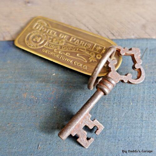 Historic Hotel De Paris Brothel Room Brass Tag & Key Antique Finish Bar Man Cave