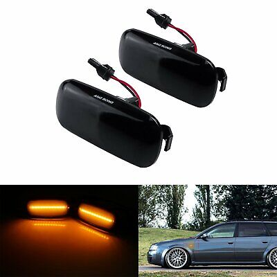 Canbus LED Side Indicator Repeater Light Amber Black Smoked For Audi A3 8P A4 A6