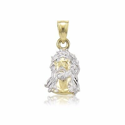 14K Solid Yellow White Gold Jesus Head Pendant - Face Necklace Charm Men Women