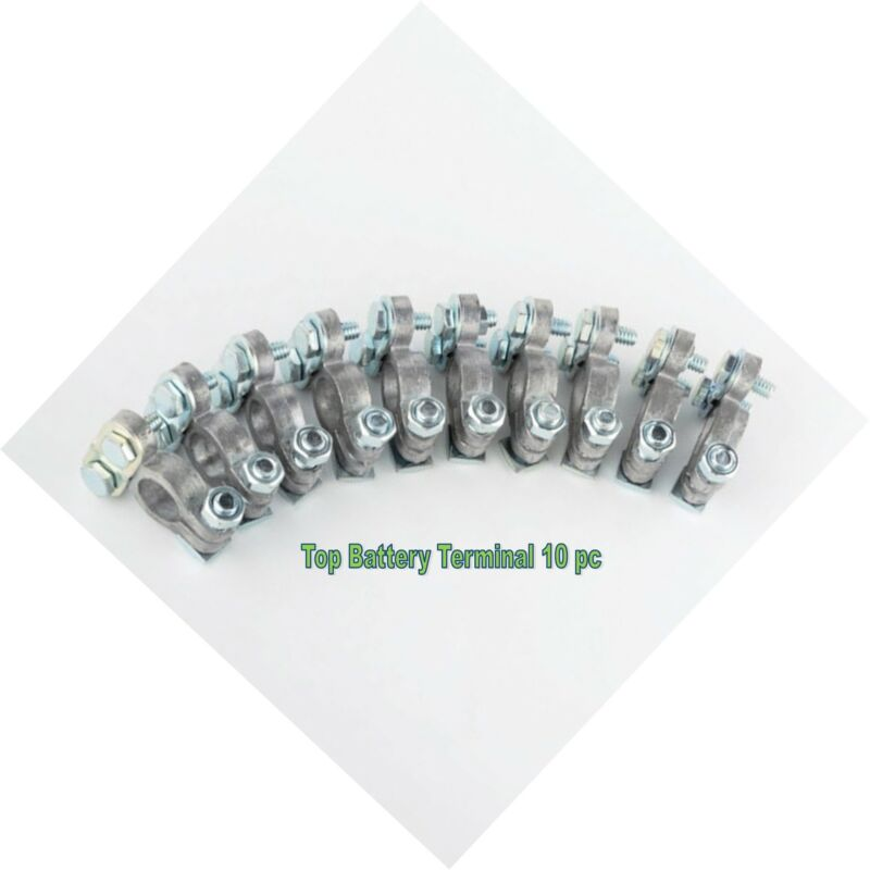 10pc TOP POST BATTERY TERMINAL SOLID LEAD STEEL BOLT CABLE
