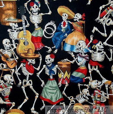 BonEful Fabric FQ Cotton Quilt VTG Black White B&W Skeleton Skull Head Dance Bar - Bar Sinister Halloween