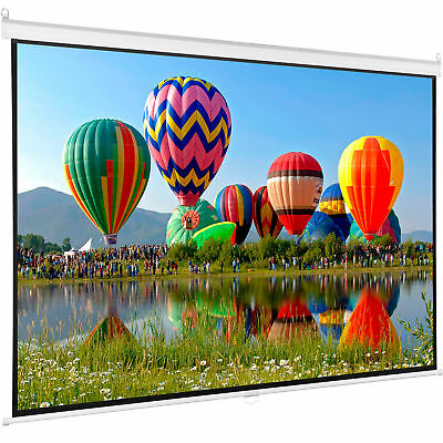 "100"" Projector Screen 16:9 Projection HD Manual Pull Down Ho"