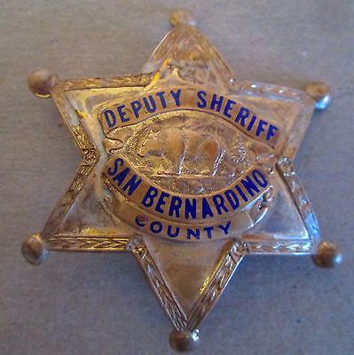 Obsolete Deputy Sheriff Badge San Bernardino County 6 Point Police Badge