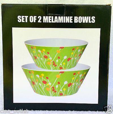 New MELAMINE GREEN FLORAL BOWLS - Set of 2 Bowls - 10