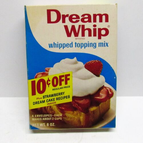 Vintage 70s Dream Whip Whipped Topping Mix Box 2 Packets Full 8oz Display Prop