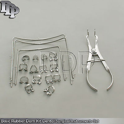 Dental Rubber Dam Kit Set Of 18 Pieces Rubber Dam Clamps Frame Iv Forcep Dn-2079