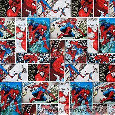 Kids Movie Costumes (BonEful Fabric FQ Cotton Quilt American Boy Marvel Spiderman City Applique)