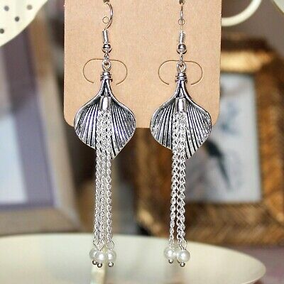 1920's/flapper Art Deco style Calla Lily and faux pearl tassel earrings  (1920 Earrings Flapper)