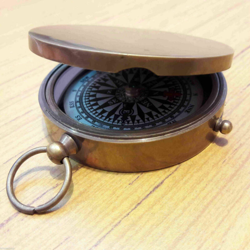 Antique Brass Vintage Pocket Lid Compass Floating Lock Gift Item