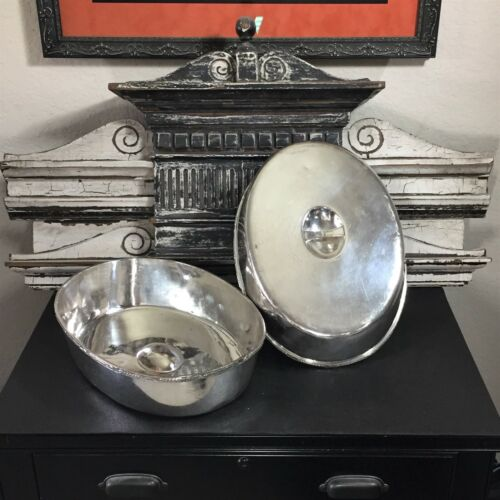 LARGE PIERRE HOTEL SILVER NEW YORK ANTIQUE DOME TRAY COVERS