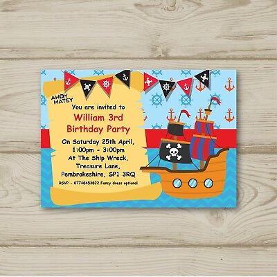 Pirate Matey (Pirate Ahoy Matey Birthday Party Invitations Personalised )