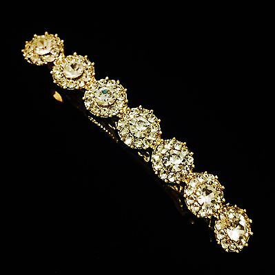 USA BARRETTE Hair Clip using Swarovski Crystal Hairpin Gold Simple Clear Bridal