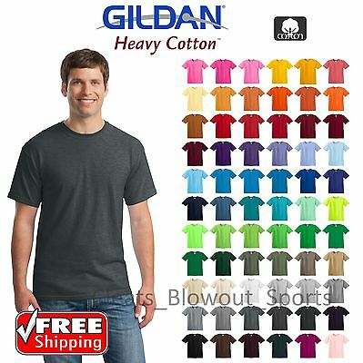 Gildan Heavy Cotton T-Shirts 5.3oz Blank Solid Mens Short Sleeve Tee S-XL 5000 - Adult Mens