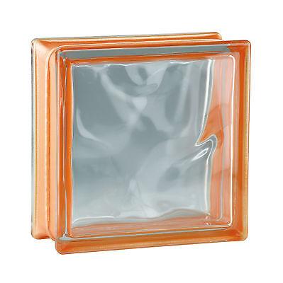6 stuk glazen bouwsteen glasblok bouwglas Wave Wolken refelx oranje 19x19x8cm