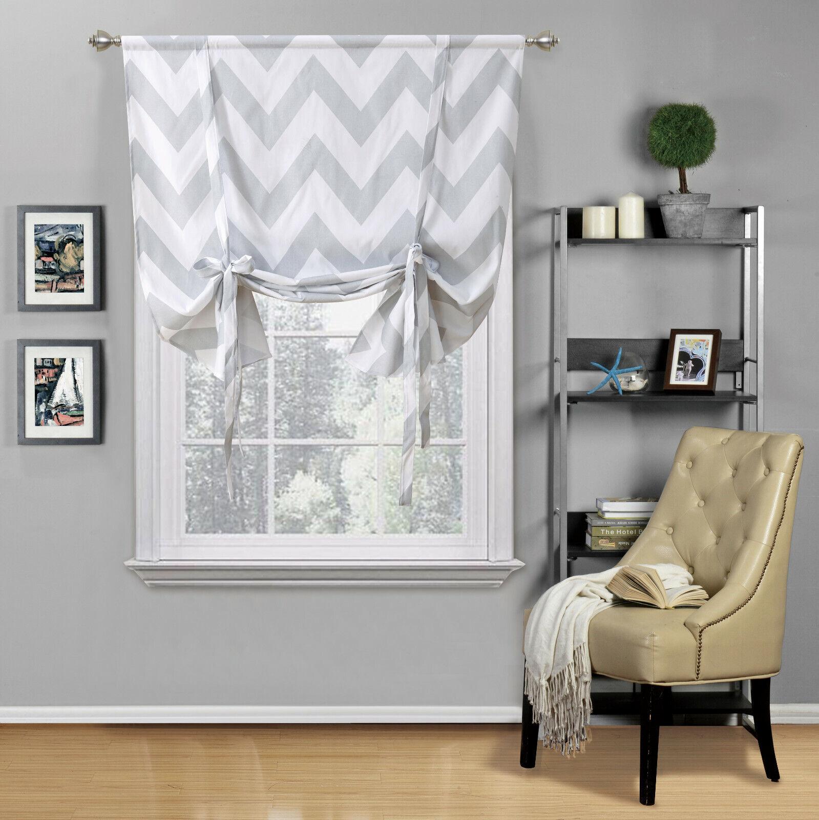 Shabby Flax Linen Trellis Clover Window Curtain Tie Up
