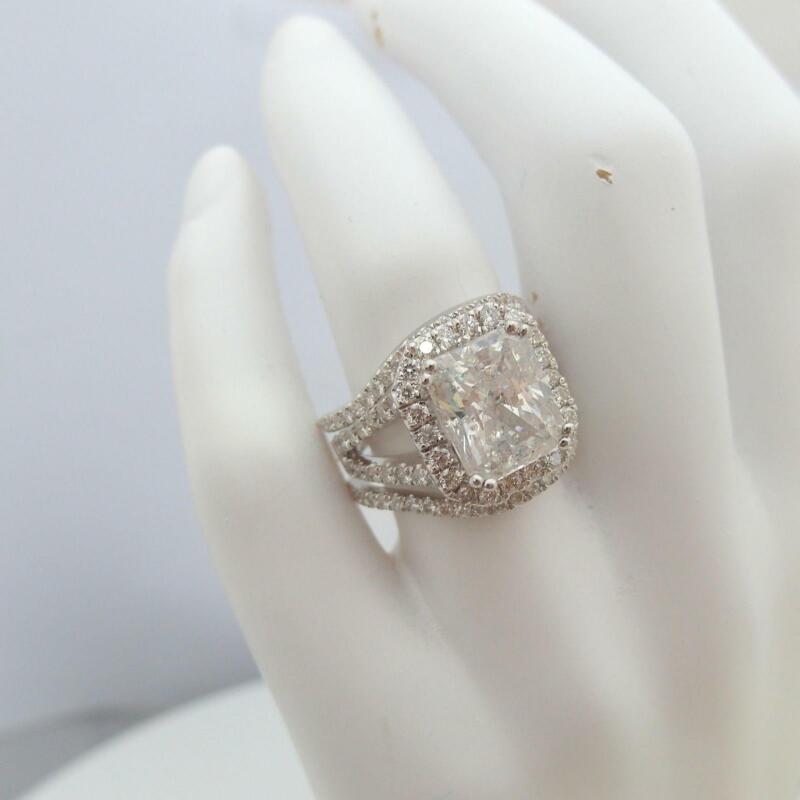 Diamond Halo Ring Ladies Estate Cushion Split Shank 18 Karat White Gold 5 Carat