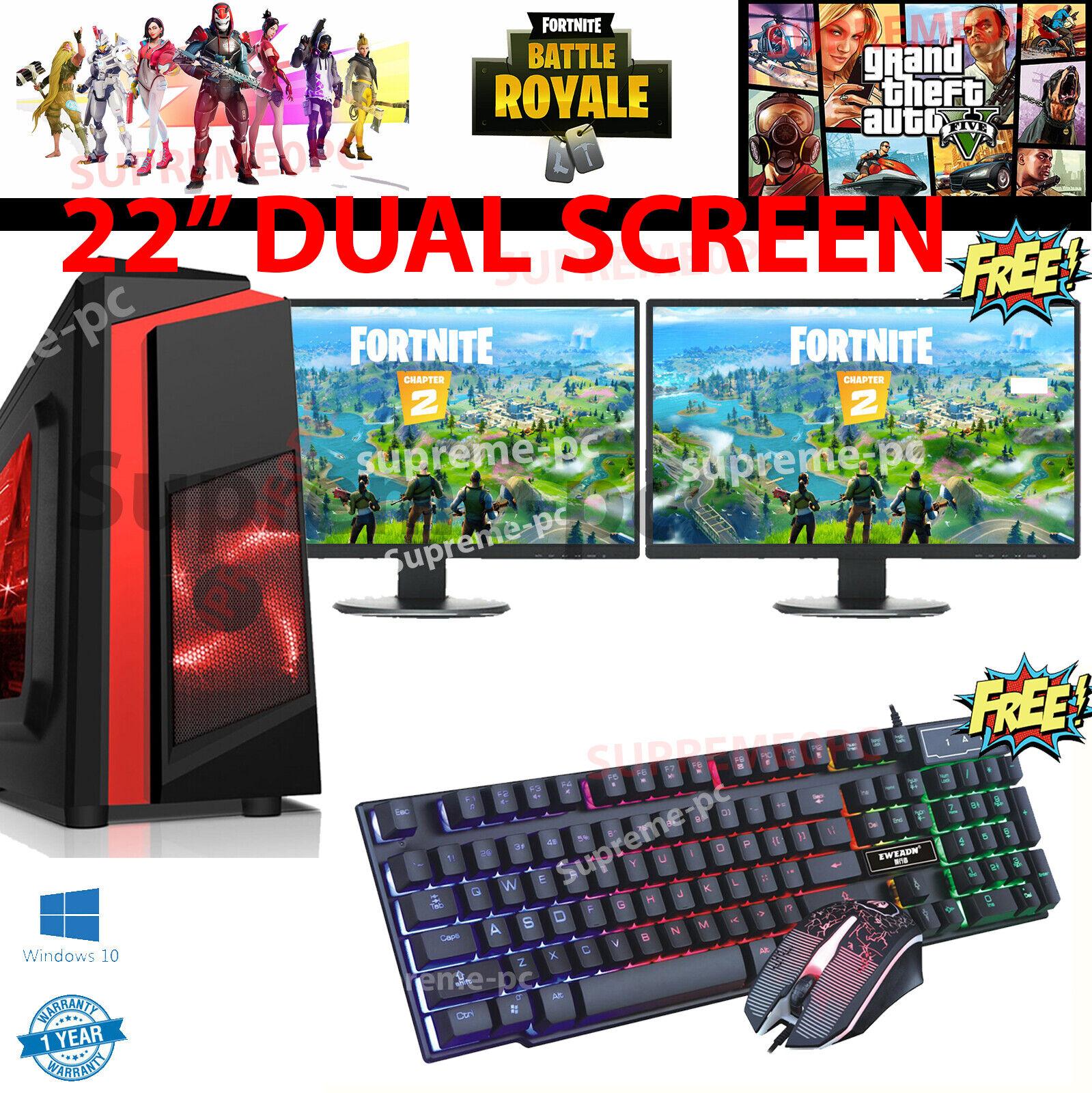 "Computer Games - Fast Gaming PC Computer 22"" DUAL SCREEN intel Core i5 16GB 1TB Win 10 2GB GT710"