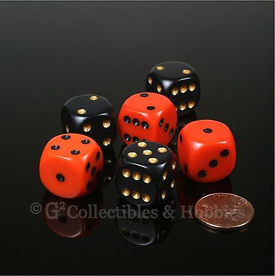 NEW 6 ROUNDED EDGE Dice Set Orange Black Halloween Colors RPG Bunco Game 16mm D6