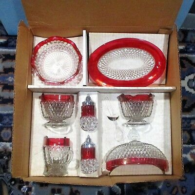 9 piece serving set ruby red Indiana diamond point w box ᵛ f5