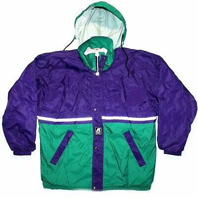 K-WAY 2000 VTG 80s/90s Green/Purple Festival Jacket Packable Windbreaker 2XL 48""