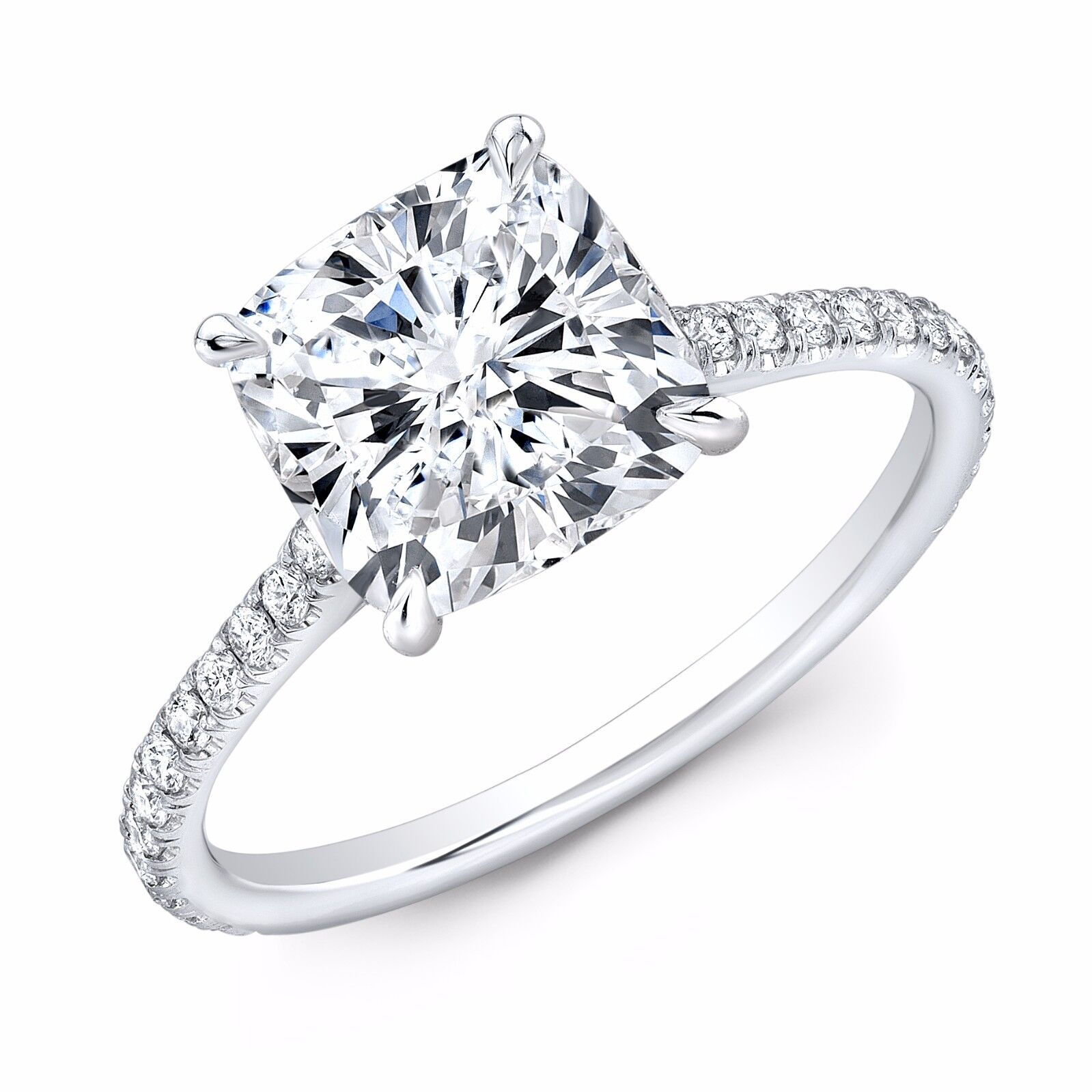 2.30ctw Natural Cushion Pave Diamond Engagement Ring - GIA Certified