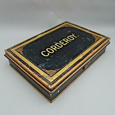 Antique Deed Box ~ CORDEROY in Gold ~ Black Japanned Milner's Document Safe Box