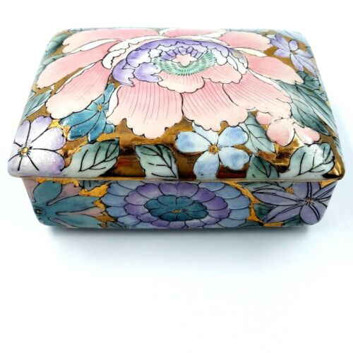 Toyo Golden Peony Porcelain Jewelry Trinket Dish with Lid Multi-color Vintage