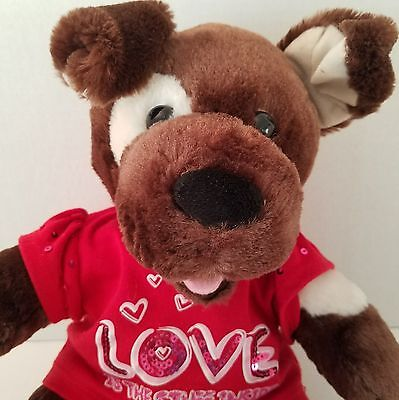 Build A Bear Puppy Dog Plush Stuffed Animal Brown Patches Pink Tongue Love Shirt