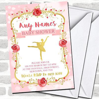 Pink Gold Ballerina Ballet Invitations Baby Shower Invitations Ballerina Baby Shower Invitations