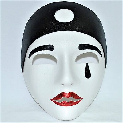 Pierrot Face Mask Large Pierette Masquerade Mime Clown Halloween Fancy Dress - Pierrot Masks