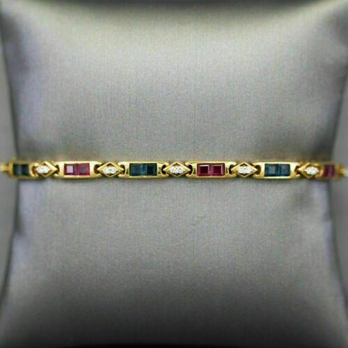 Tennis Bracelet 6.25ct Princess Cut Ruby Sapphire & Diamond 14k Yellow Gold Fin