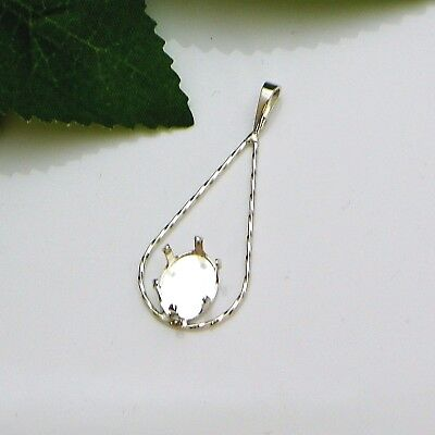 Oval TWISTED TEARDROP Sterling Silver Snap Tite Pendant Setting