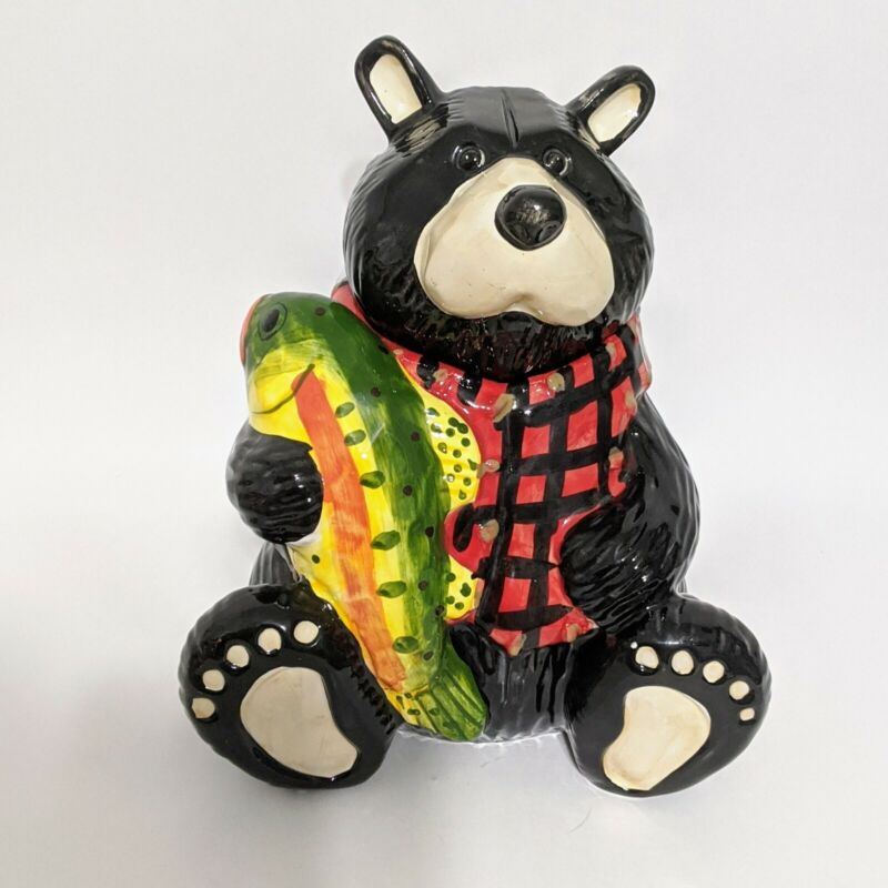 COLORFUL Black Bear with Coi Fish COOKIE JAR in Buffalo Plaid Vest