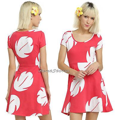 Disney Hawaii Lilo & Stitch Hawaiian Costume Dress Fit & Flare Red/White Leaves](Lilo Dress Costume)