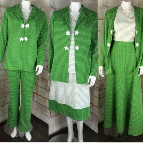 Vintage 70s Green Polyester Suit Lot 5PC Matching Set Skirt L Top Jacket Pants