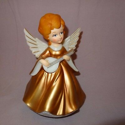 """Vintage Music Box Plastic Angel Plays Silent Night Hong Kong 1973  7"""" Gold color"""