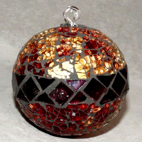 Christmas Ornament ART Glass Ball Stained Glass Amber Copper Gold USA SELLER