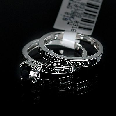 Ladies White 10K Gold Genuine Black Diamond Ring Set Duo Wedding Engagement Band