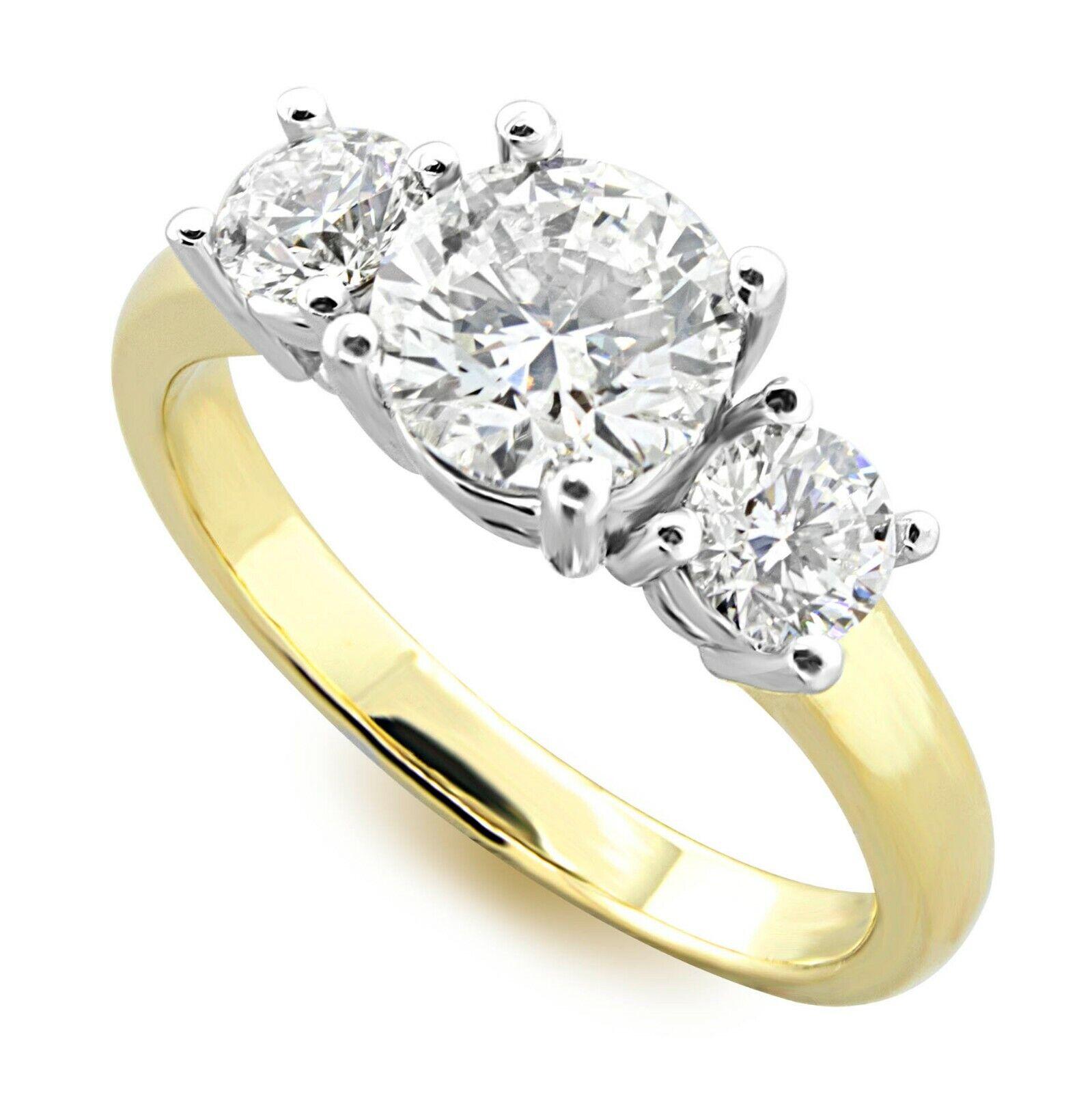 1.50ct. Three Stone GIA cert. Diamond Engagement Ring, 14k White & Yellow Gold