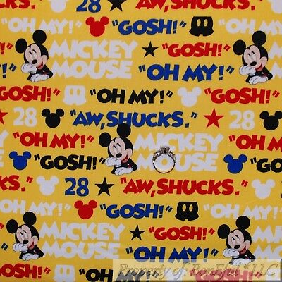 BonEful FABRIC Cotton Quilt Yellow Blue Red Disney Mickey Mouse Baby Boy L SCRAP ()
