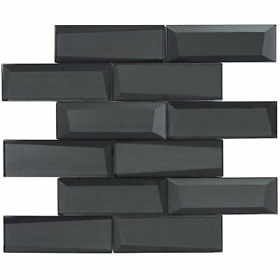 Modern Subway Black Glossy Glass Mosaic Tile Backsplash Kitchen Wall MTO0157 (Glass Mosaic Subway Tiles)