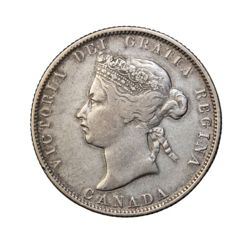 1872-H Canada Silver 25 Cents Quarter Queen Victoria British Coin km#5