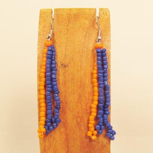 WHOLESALE LOT 100 Orange Blue Handmade Beaded Dangle Drop Earrings TEAM COLORS